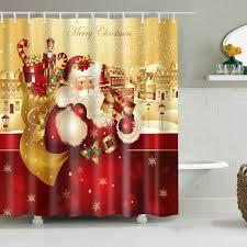 2018 christmas santa claus waterproof bath shower curtain yellow