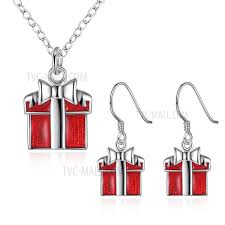 necklace earring gift box images Pcs919 christmas gift box shaped pendant necklace drop earrings jpg