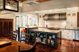 Kitchen Island With Bookshelf Appealing Rectangke Shape Farmhouse Kitchen Island Features Black
