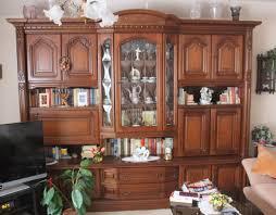 Wohnzimmerschrank Verkaufen Schrankwand Nussbaum Rustikal 270x220cm Glas Vitrine Wohnwand