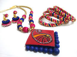 beaded necklace jewelry designs images Stylish and trendy pink and blue silk beaded necklace set jpg
