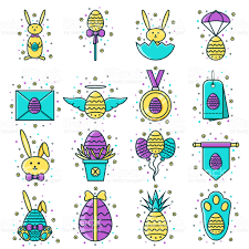 decorative eggs for sale set of easter flat color line icons decorated eggs bunny sale tag