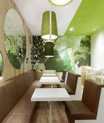 Interior Design Restaurants Plushemisphere Green White And Fresh Restaurant Interior Design