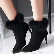 s boots with heels faux fur pointed toe high heels ankle boots oasap com