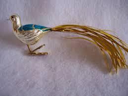 vintage german gold tinsel glass bird clip on ornament