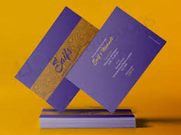 walima invitation gold and purple asian wedding invitation card qdl06