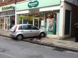 should have gone to specsavers car crashes into opticians in kent