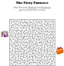 fiery furnace coloring page www kidsbibleworksheets com the fiery furnace bible maze for kids