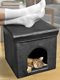 Hide A Bed Ottoman The Best Cat Condos Beds And Shelves Cat Condo Hiding Places
