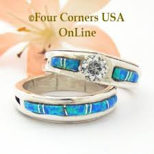 Opal Wedding Ring Sets by Blue Opal Engagement Wedding Ring Sets Navajo Wedding Rings