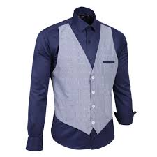 farrabi has integrated the navy shirt with a blue white dotted on