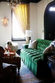 Emerald Green Velvet Sofa by Rue Magazine Via Mix And Chic Emerald Green Velvet Sofa Home