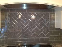 Stone Tile Kitchen Backsplash Herringbone Patter On A Disagonal With All 3x6 Glass Installed By
