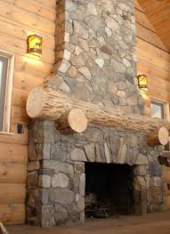decorations country syle stone fireplace design with log wood