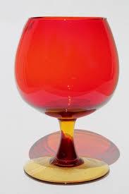 Vintage Orange Glass Vase Vintage Red Orange Amberina Art Glass Vase Big Brandy Snifter