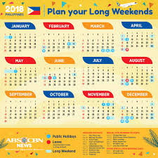 your 2018 holidays and weekends calendar abs cbn news