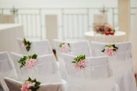 Pink Chair Covers Wedding Chair Covers With Pink Flowers Stock Photo Image 48556715