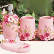 Porcelain Bathroom Accessories by Shabby Chic Pink Bathroom Set