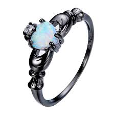 claddagh ring black gold and opal claddagh ring 126469
