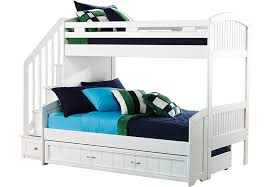 Bunk Beds With Trundle Cottage Colors White Twin Full Step Bunk Bed With Trundle Full