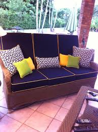 Custom Patio Furniture Cushions by Exquisite Wicker Sofa Set With Black Sunbrella Outdoor Cushion And