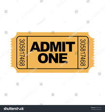 admit one home theater yellow admit one ticket illustration numbers stock vector