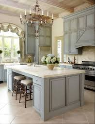 french kitchen design with grey cabinets and island lovely