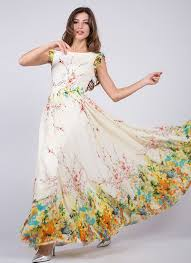 artsy yellow chiffon floral prom dress with rainbow floral print