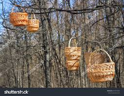 trade handicrafts street spring wicker baskets stock photo