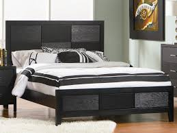 black and white bedroom wall mounted beige square low profile bed