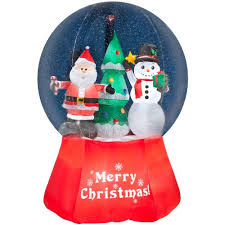 Outdoor Father Christmas Decorations Uk by Gemmy Inflatable Airblown Snow Globe With Santa And Snowman