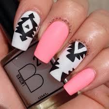 White Pink Nail Black Nails Nail Nails Pink Nails Tribal Print White Nails