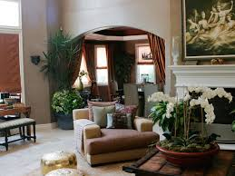 moroccan inspired living room with copper and taupe color scheme