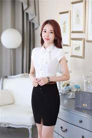 business blouses summer professional sleeve slim fashion tops and skirt