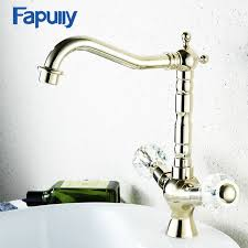 online shop fapully crystal handle bathroom faucets gold bathroom