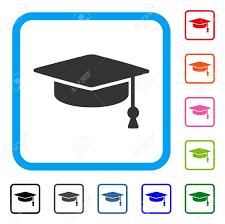 graduation cap frame graduation cap icon flat grey iconic symbol inside a light blue