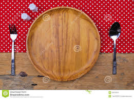 Wooden Kitchen Table Background Wooden Plate Tablecloth Spoon Fork On Table Background Stock