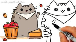 how to draw autumn pusheen cat pie step by step easy fall