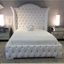 Black Tufted Bed Frame White Bed Frame On Size And Rhinestone Pertaining To