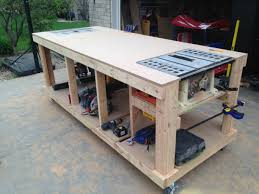 workshop building plans garage workbench ginger the huth diy work bench pinterest