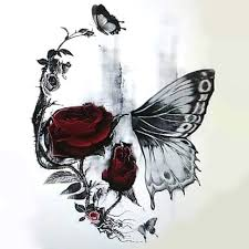 skull butterfly and rose tattoo design rose tattoos red color