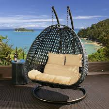 Swinging Chair For Bedroom Black Rattan Two Person Hanging Chair With Beige Cushion Covers