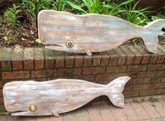 wood whale wall hanging folk style 48 inch blue nautical