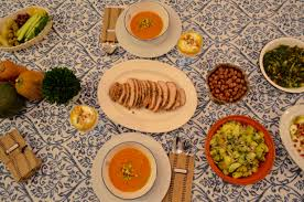 a mediterranean inspired autumn harvest or thanksgiving dinner menu