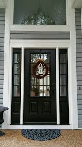 Sidelight Windows Photos Model 440 Signet Fiberglass Front Entry Door Coal Black With Aged