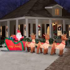 Christmas Yard Decorations Lighted Santa And Sleigh Christmas Outdoor Decoration
