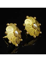 big stud earrings indian ethnic gold plated ginni coins big stud earrings new