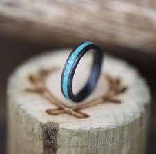 black zirconium wedding bands treated black zirconium turquoise stacking wedding band