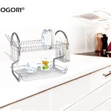 Cutlery Organizer Furniture Home Deluxe Tier Stainless Steel Dish Drainer Cup Dish