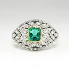art deco emerald diamond ring platinum 18k yellow gold antique